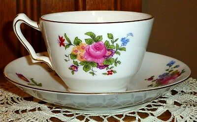 Vintage Crown Staffordshire Rose Floral On White Tea Cup & Saucer, Gold Trim