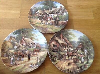 3 Wedgwood Country Days Collectors Plates 2nd 3rd & 4th In Series.