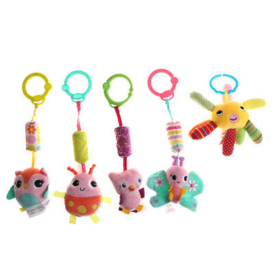 Animal Handbells Musical Developmental Toy Bed Bells Kids Baby Soft Toys RattleB