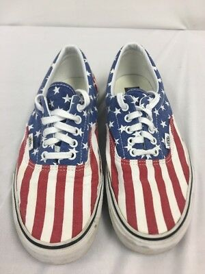 f70d4e8b435 Vans Off the Wall Authentic American Free Flag Red White Blue Shoes Mens 10