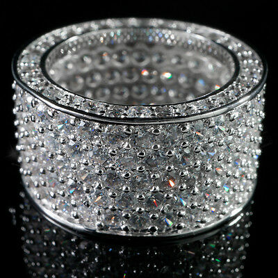 18K White Gold 11mm Iced Out Lab Diamond Silver ETERNITY Wedding Band Mens Ring