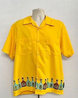 Casino Wear Los Angeles Men's SS Button Front Cabo Wabo Tequila Shirt Yellow L