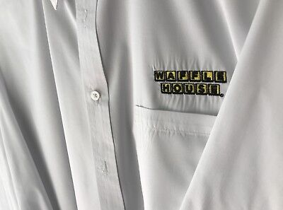 Waffle House Large White Dress Button down shirt.  Freshly Dry Cleaned, Flawless