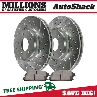 Front Drilled Slotted Rotors Ceramic Pads for 2006-2016 Dodge Charger Silver
