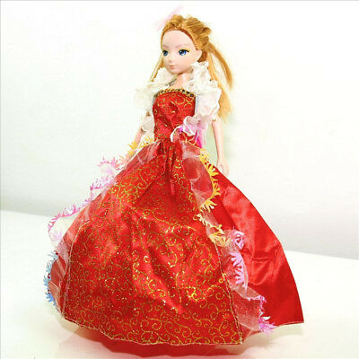 Handmade Party Dress Fashion Red Clothes For Barbie Doll Outfit Gown Wedding G