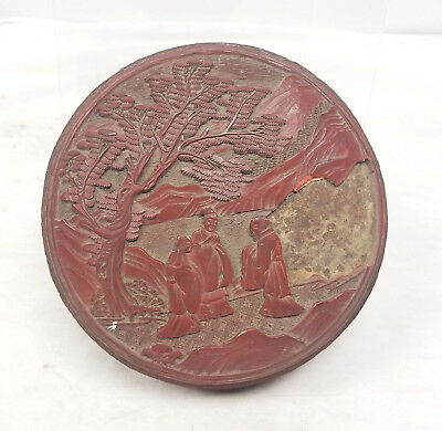 Antique Chinese Carved Cinnabar Lacquer Box Landscape Damaged As Is Hat