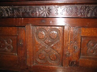 William and Mary style antique oak court cupboard with 1701 date carving