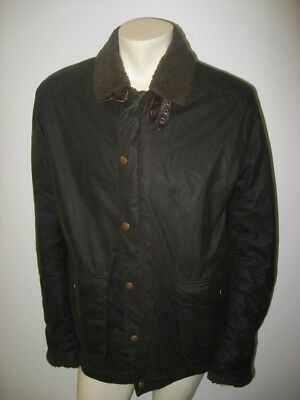 BARBOUR CATTERICK Cattrick Lined Parka Jacket Waxed Cotton Green Size XL