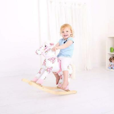 Childs Floral Pink Rocking Horse Plush Soft Padded Saddle Quality Ride On Pony