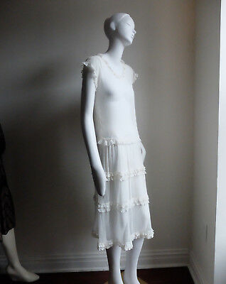 Antique Lace Embroidered Sheer Netting Dress sz S 2 4 Gatsby 1920s Wedding Glam