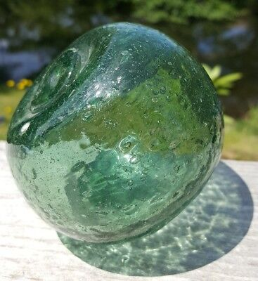 "Japanese Fishing Glass Float 3.5"" Pumpkin Misshapen Paperweight Oval Aqua Flat"