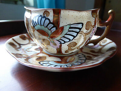 Antique Eggshell Porcelain Kutani Ware Cup Saucer Butterly Hand Painted Signed