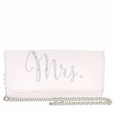 Mrs. White Bridal Purse Shower Engagement Rehearsal Bride to Be Flap Clutch
