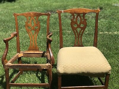 Set 2 Bench Made Chippendale English/American 1700's Chairs Oak Arm Side 18th C