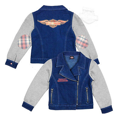 Harley-Davidson Girls Youth Winged B&S Glitter Print Denim Fleece Blue Jacket