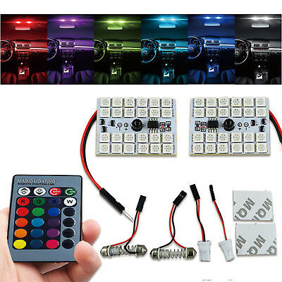 2x RC RGB LED Bulbs Panel 24-SMD 5050 Multi-Color Dome Light Map License Plate