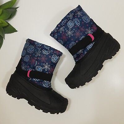 Toddler Girl's Blue Pink Flower Winter Waterproof Snow Boots - Size 10