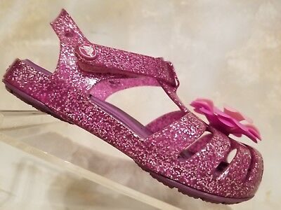 Crocs Purple Glitter Jelly Pink Flower Ankle Strap Sandal Shoes Toddlers Girls 7