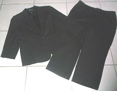 71a1463ac18a5 Lane Bryant Women's Size 18W Brown Pinstriped Wool Blend Pants Suit In Euc!