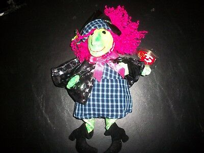 Ty Beanie Babies Baby Halloween Scary Lime Green Witch W Cape & Hat W Tags