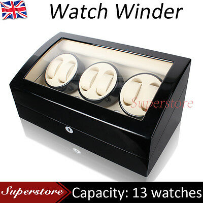 ALG LUXURY 6 Black Wood Automatic Piano Paint Watch Winder Box 6 + 7 storages
