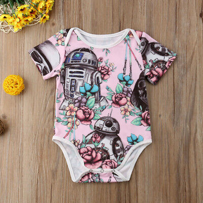 UK Stock Newborn Baby Girl Star Wars Cartoon Romper Jumpsuit Sunsuit Clothes Set