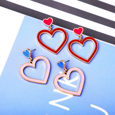 ed00218c 2018 New Summer Jewelry Enamel Heart Star Trendy Drop Earrings Holiday
