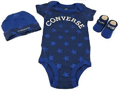 Converse Stars Infant 3 Piece Clothing Set for 0-6 Month Old - Navy Blue