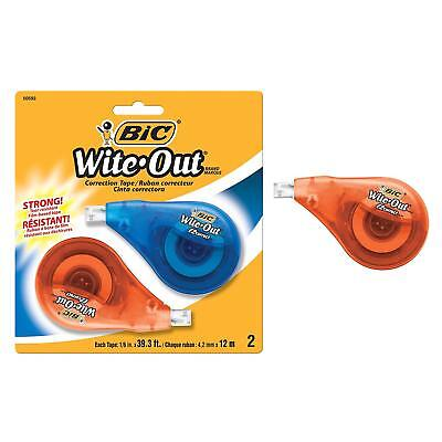 BIC Wite-Out Brand EZ Correct Correction Tape, 2-Count, White, New, Free Ship