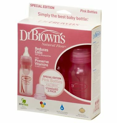 Dr Brown's Pink Narrow Neck 120ml 3 pack