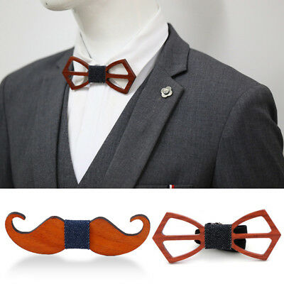 Men's Wood Bow Tie Accessory Wedding Party Business Bamboo Wood Bowtie Neck Wear