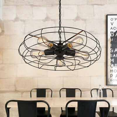 Industrial Steampunk Pendant Light Retro Wrought Iron Cage Barn Light Chandelier