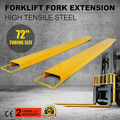 """72"""" x 5.9"""" Forklift Pallet Fork Extensions Pair High Tensile Firmly Heavy Duty"""