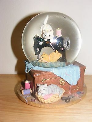 """Cat Sew Purrfect """"Buttons & Bows"""" Snow Globe San Francisco Music Box & Gift Co."""