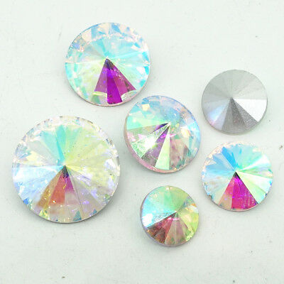 White AB faceted Crystal glass Rivoli round Beads Jewels 6/8/10/12/14/16/18mm