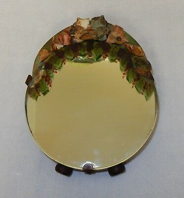 Vintage Small Leather  Barbola Easel Back Mirror Looking Glass