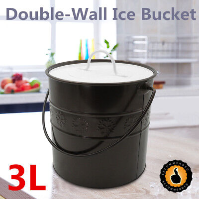 3L Double Wall Ice Bucket Container Wine Chiller Insulated With Lid & Ice Tong