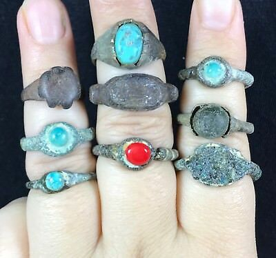 Very rare ancient old antique 9 pices bronze rings whit tourquise & coral stones