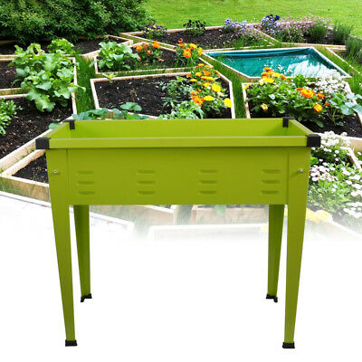 Elevated Garden Planter Box Metal Raised Vegetable Bed For Patio Fruits Flowers