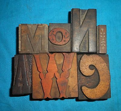 Mix 7 Letterpress Letter Wood Type Printers Block collection Bt624