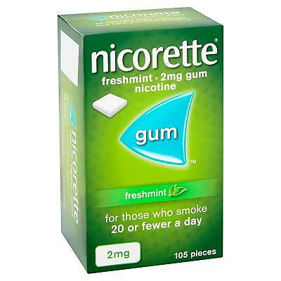 Nicorette Freshmint Chewing Gum, 2 mg, 105 Pieces Stop Smoking Aid Best Price UK