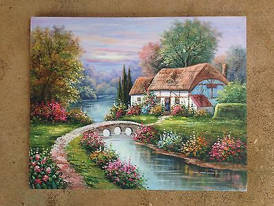 Vtg Orig Spring Garden English Cottage Landscape Painting SIGNED B Trapp L