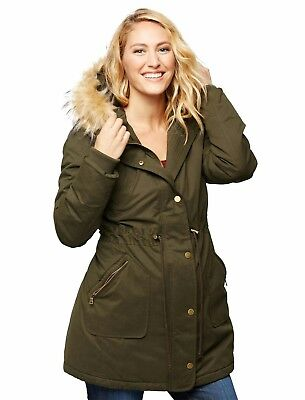 A Pea in the Pod Faux Fur Hooded Maternity Coat - Small - Olive