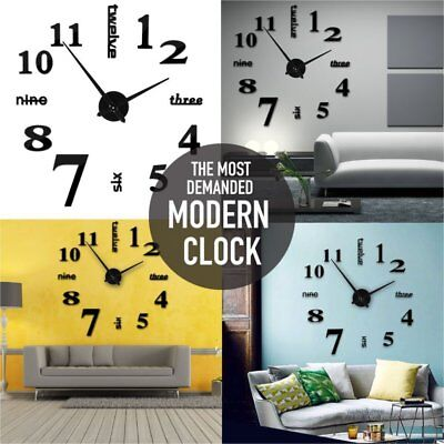 Luxury 3D DIY Wall Clock Home Decoration Mirror Living Room Large Art Design SY