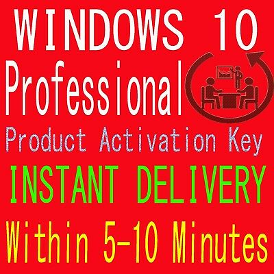 windows 10 pro professional Key 32/64 bit instant Delivery WITHIN 5-10 Minutes