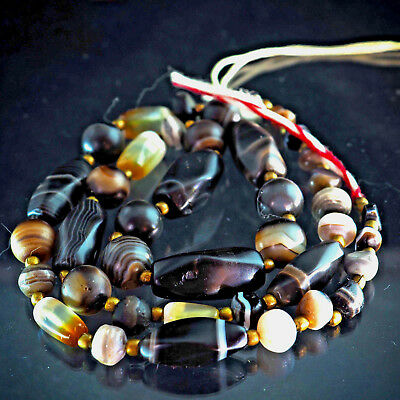 Original Old Ancient Agate Banded Eye Mix Shape Beads Necklace Near Eastern