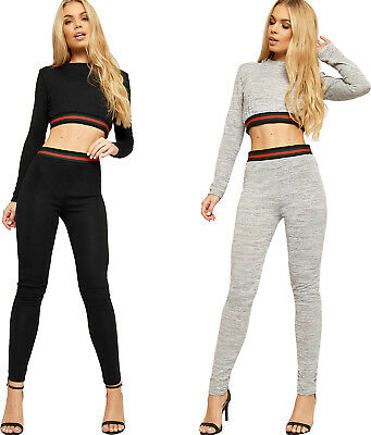 aed34e3b242 Womens Striped Long Sleeve Knitted Crop Top Leggings Tracksuit Ladies  Loungewear