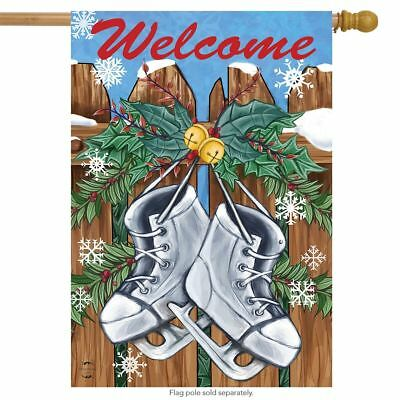 """Holiday Skates Winter Applique House Flag Christmas Embroidered 2 Sided 29/""""x42/"""""""
