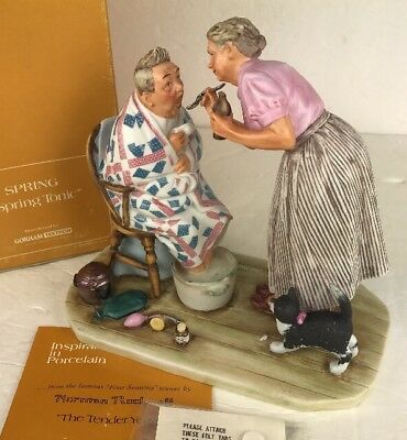 Norman Rockwell Gorham Spring Tonic Porcelain Figurine NR 1957-SP Four Seasons