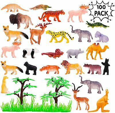 96 Wild Animals Zoo Safari Farm Children Kids Loot Party Bag Filler Plastic Toy